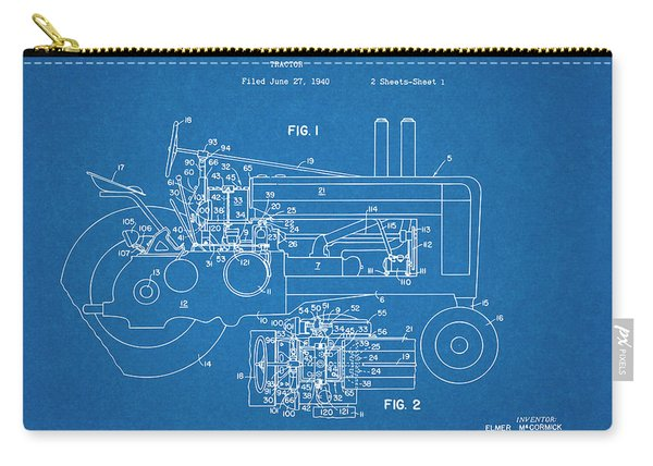 1942 John Deere Tractor Blueprint Patent Print Carry-all Pouch