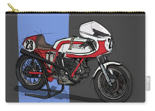 1974 Ducati 750ss Original Handmade Sketch Carry-all Pouch
