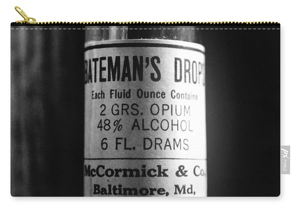 Antique Mccormick And Co Baltimore Md Bateman's Drops Opium Bottle Label - Black And White Carry-all Pouch