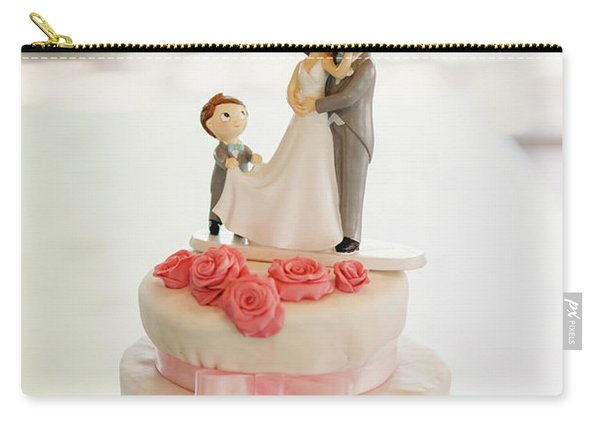 Desserts And Wedding Cake With Very Sweet Cupcakes At An Event. Carry-all Pouch