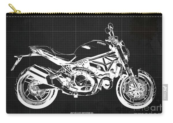 2017 Ducati Monster 821 Blueprint, Vintage Dark Grey Background Carry-all Pouch