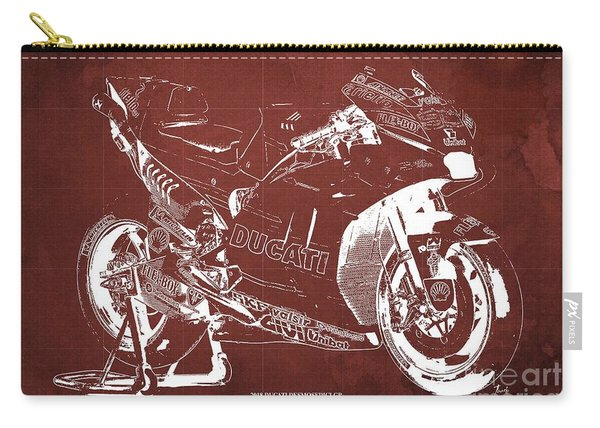 2018 Ducati Desmosedici Gp Blueprint, Vintage Red Background Carry-all Pouch