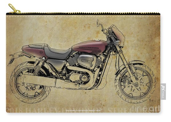 2018 Harley Davidson Street Rod, Vintage Background Carry-all Pouch