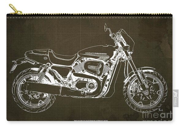 2018 Harley Davidson Street Rod, Vintage Brown Background Carry-all Pouch
