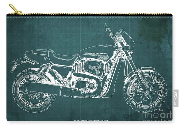 2018 Harley Davidson Street Rod, Vintage Green Background Carry-all Pouch