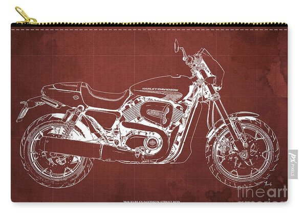 2018 Harley Davidson Street Rod, Vintage Red Background Carry-all Pouch