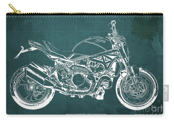 2019 Ducati Monster 1200 25 Anniversario Blueprint, Vintage Green Background Carry-all Pouch