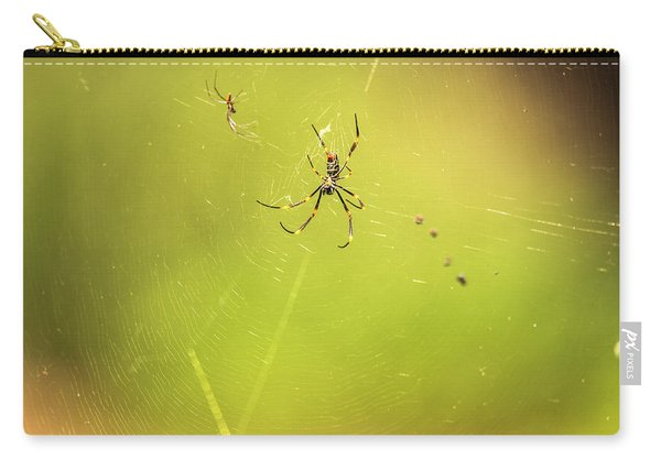 Carry-all Pouch featuring the photograph Golden Orb Spider. by Rob D Imagery