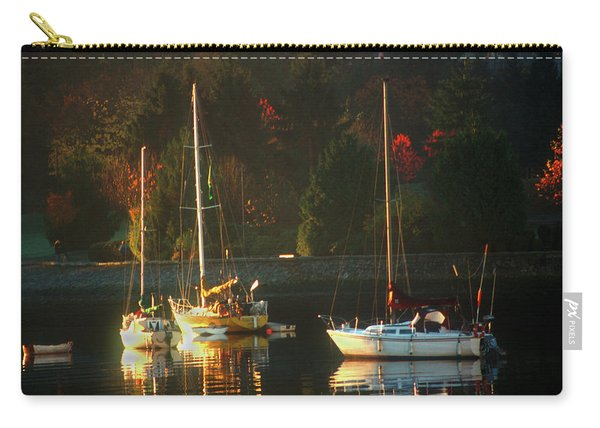 3 Sail Boats In Coal Harbour Creek Vancouver Carry-all Pouch