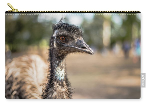 Carry-all Pouch featuring the photograph Emu By Itself Outdoors During The Daytime by Rob D Imagery