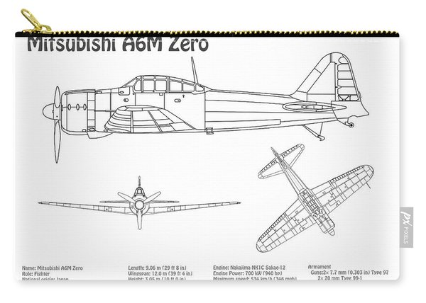 Mitsubishi A6m Zero - Airplane Blueprint. Drawing Plans For Mitsubishi A6m Reisen, Rei-sen Or Zeke Carry-all Pouch