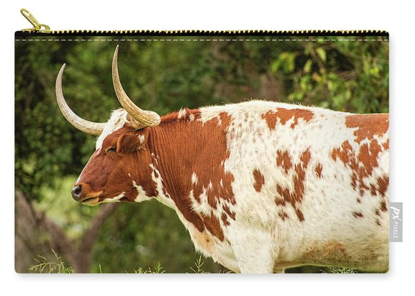 Carry-all Pouch featuring the photograph Longhorn Bull In The Paddock by Rob D Imagery