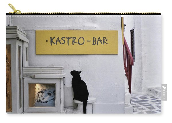 A Curious Cat In Mykonos Carry-all Pouch