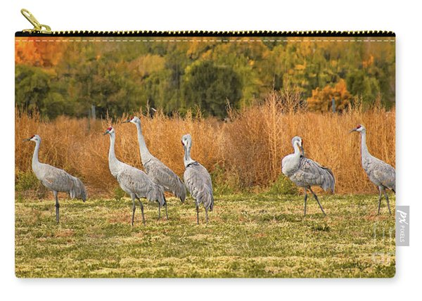 Carry-all Pouch featuring the photograph A Dance Of Cranes by Susan Warren