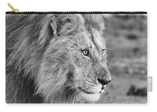 A Monochrome Male Lion Carry-all Pouch