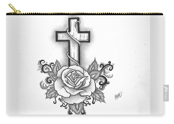 A Rose And A Cross Carry-all Pouch