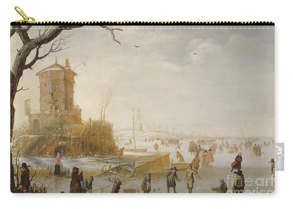 A Winter Scene With Figures On The Ice Carry-all Pouch