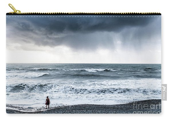 A Woman In The Sea On A Stormy Day  Carry-all Pouch