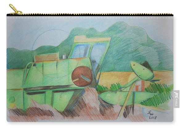 Carry-all Pouch featuring the drawing Abandoned Combine by Loretta Nash