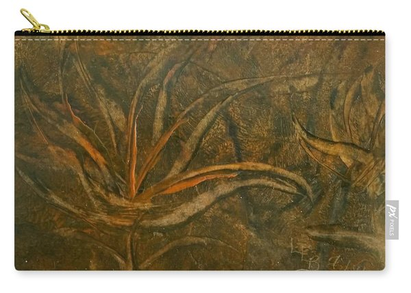 Abstract Brown/orange Floral In Encaustic Carry-all Pouch