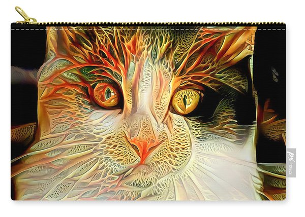 Carry-all Pouch featuring the digital art Abstract Calico Cat by Don Northup