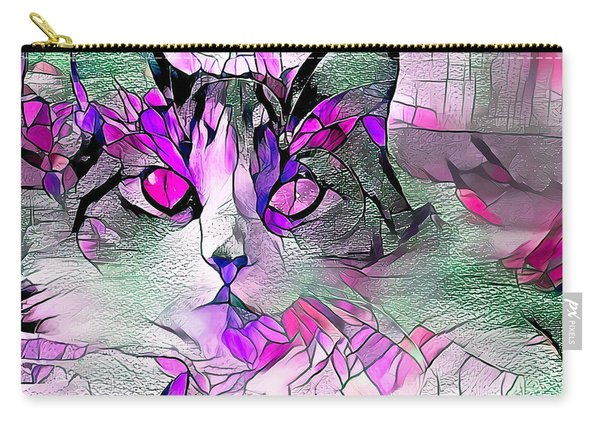 Abstract Calico Cat Purple Glass Carry-all Pouch