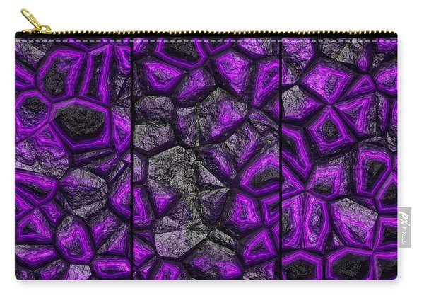 Carry-all Pouch featuring the digital art Abstract Deep Purple Stone Triptych by Don Northup