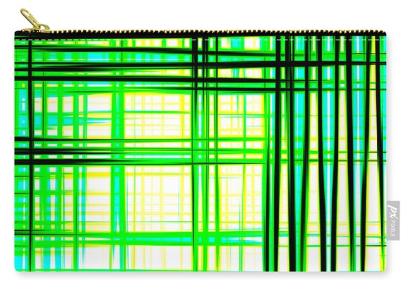 Abstract Design With Lines Squares In Green Color Waves - Pl409 Carry-all Pouch