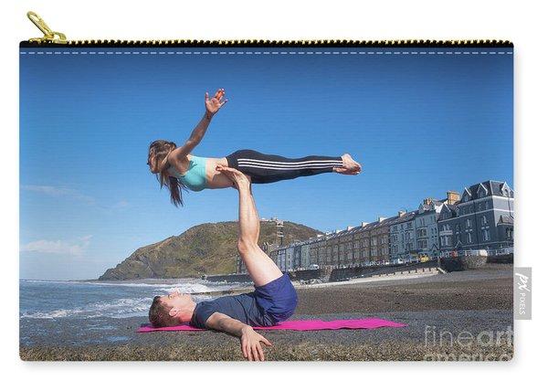 Acroyoga On Aberystwyth Beach Carry-all Pouch