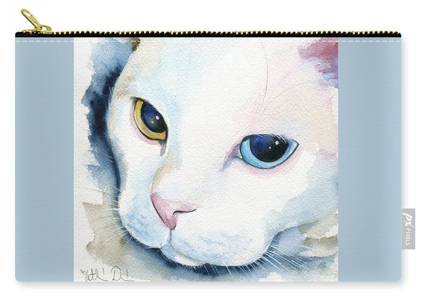 Adele - White Cat Portrait Carry-all Pouch