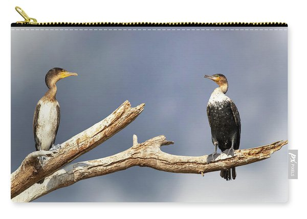 Adult And Juvenile Cormorants At Lake Naivasha Carry-all Pouch