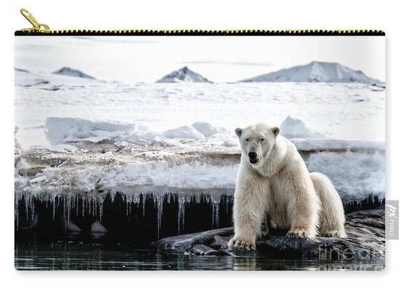 Adult Male Polar Bear At The Ice Edge In Svalbard Carry-all Pouch
