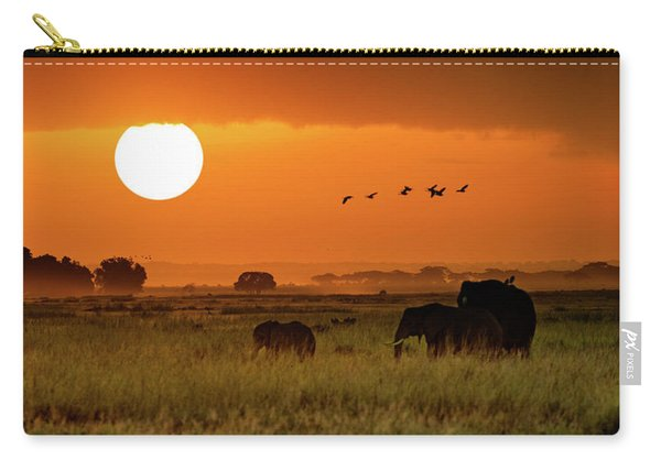African Elephants Walking At Golden Sunrise Carry-all Pouch
