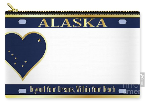 Alaska State License Plate Carry-all Pouch