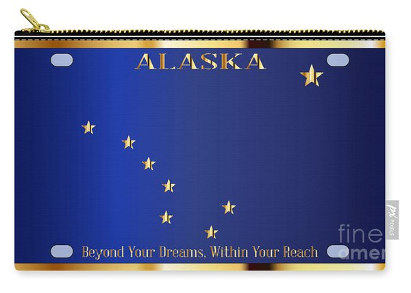 Alaska State License Plate Flag Carry-all Pouch