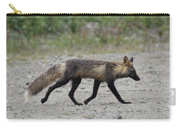 Carry-all Pouch featuring the photograph Alaskan Cross Fox by Jean Clark