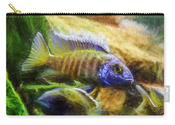 Carry-all Pouch featuring the digital art Amazing Peacock Cichlid by Don Northup