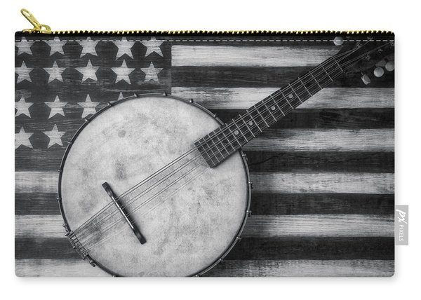 American Banjo Black And White Carry-all Pouch