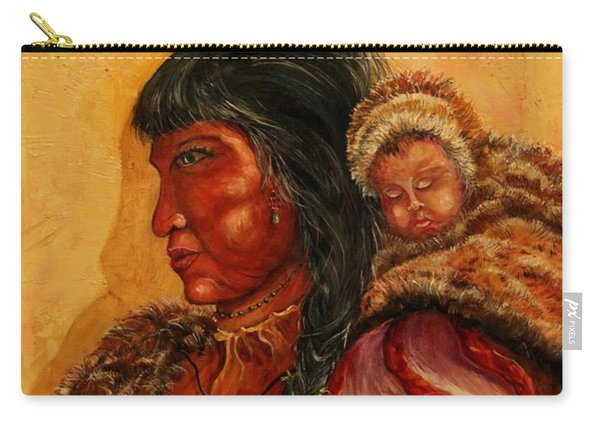 American Indian Mother And Child Carry-all Pouch