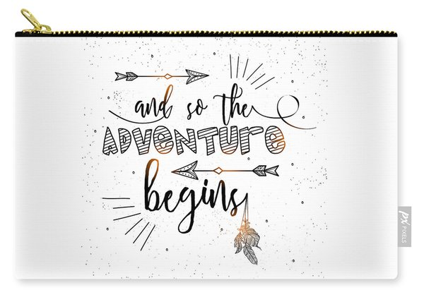 And So The Adventure Begins - Boho Chic Ethnic Nursery Art Poster Print Carry-all Pouch