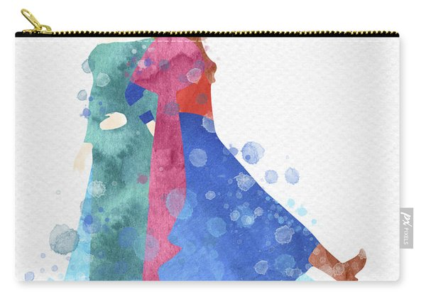 Anna And Elsa Watercolor Carry-all Pouch