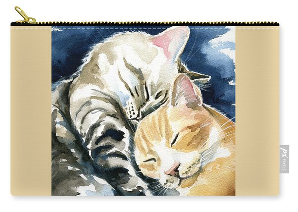 Annie And Michael Tabby Cat Painting Carry-all Pouch