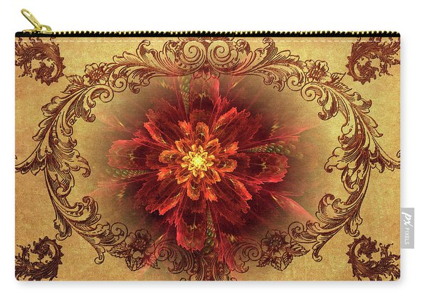 Antique Foral Filigree In Crimson And Gold Carry-all Pouch