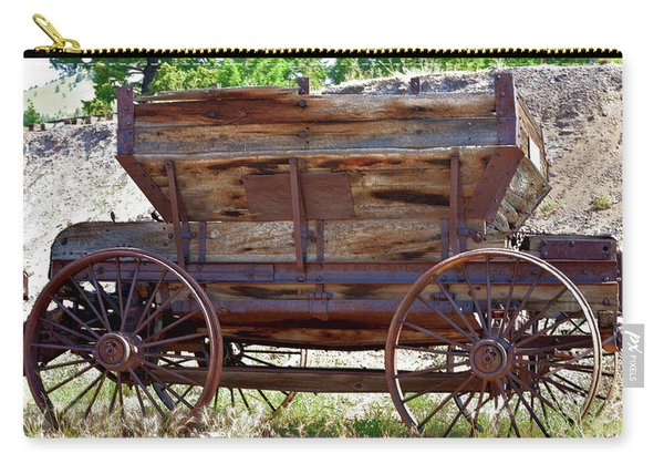 Antique Mining Wagon In Color Carry-all Pouch