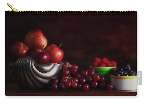 Apples With Grapes And Berries Still Life Carry-all Pouch