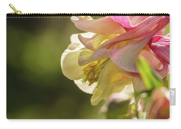 Aquilegia Pink Flower On A Green Background Close-up Macro Image Vertical Carry-all Pouch