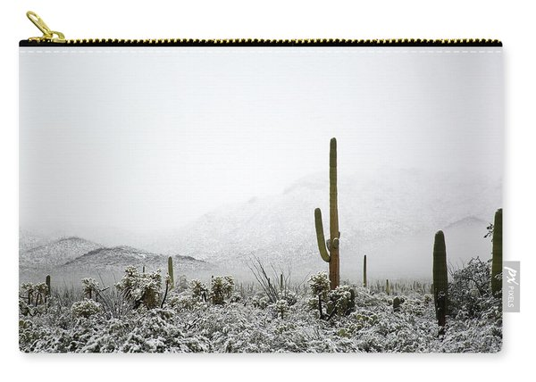 Carry-all Pouch featuring the photograph Arizona Snow by Jean Clark