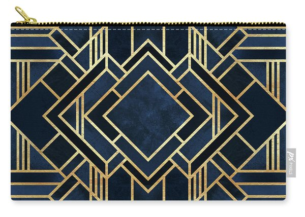 Art Deco Blue Carry-all Pouch
