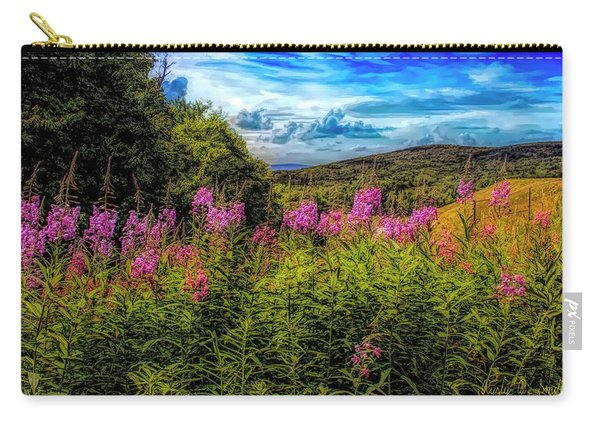 Art Photo Of Vermont Rolling Hills With Pink Flowers In The Fore Carry-all Pouch