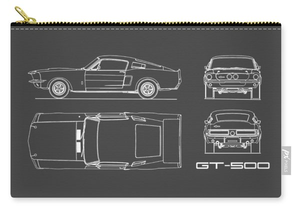 Shelby Mustang Gt500 Blueprint Carry-all Pouch
